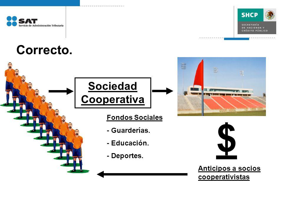 Correcto. Sociedad Cooperativa Fondos Sociales - Guarderías. - Educación. - Deportes. $ Anticipos a socios cooperativistas