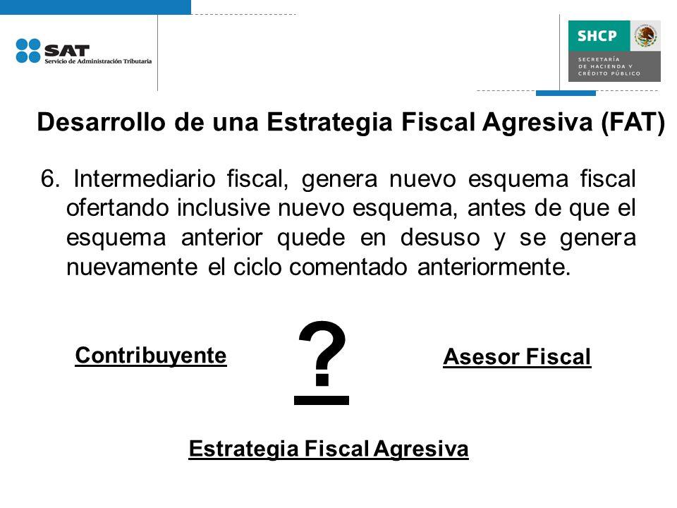 6. Intermediario fiscal, genera nuevo esquema fiscal ofertando inclusive nuevo esquema, antes de que el esquema anterior quede en desuso y se genera n