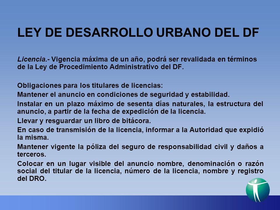 LEY DE DESARROLLO URBANO DEL DF Licencia.- Vigencia máxima de un año, podrá ser revalidada en términos de la Ley de Procedimiento Administrativo del D