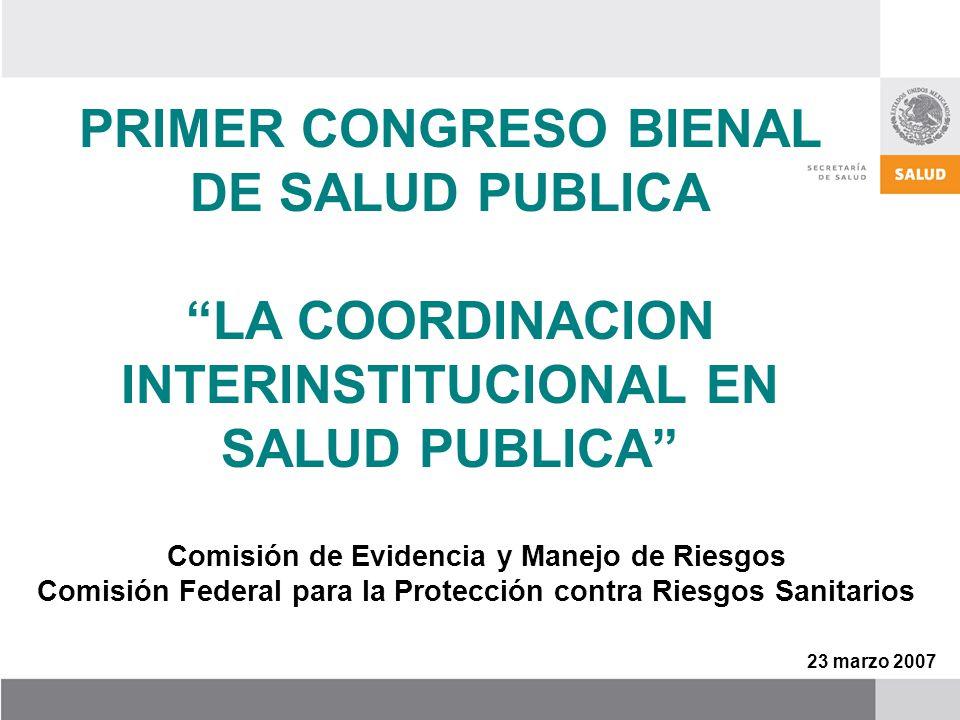 PRIMER CONGRESO BIENAL DE SALUD PUBLICA LA COORDINACION INTERINSTITUCIONAL EN SALUD PUBLICA Comisión de Evidencia y Manejo de Riesgos Comisión Federal para la Protección contra Riesgos Sanitarios 23 marzo 2007
