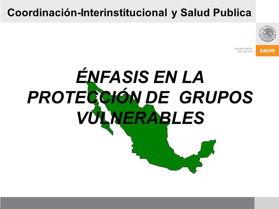 ÉNFASIS EN LA PROTECCIÓN DE GRUPOS VULNERABLES Coordinación-Interinstitucional y Salud Publica