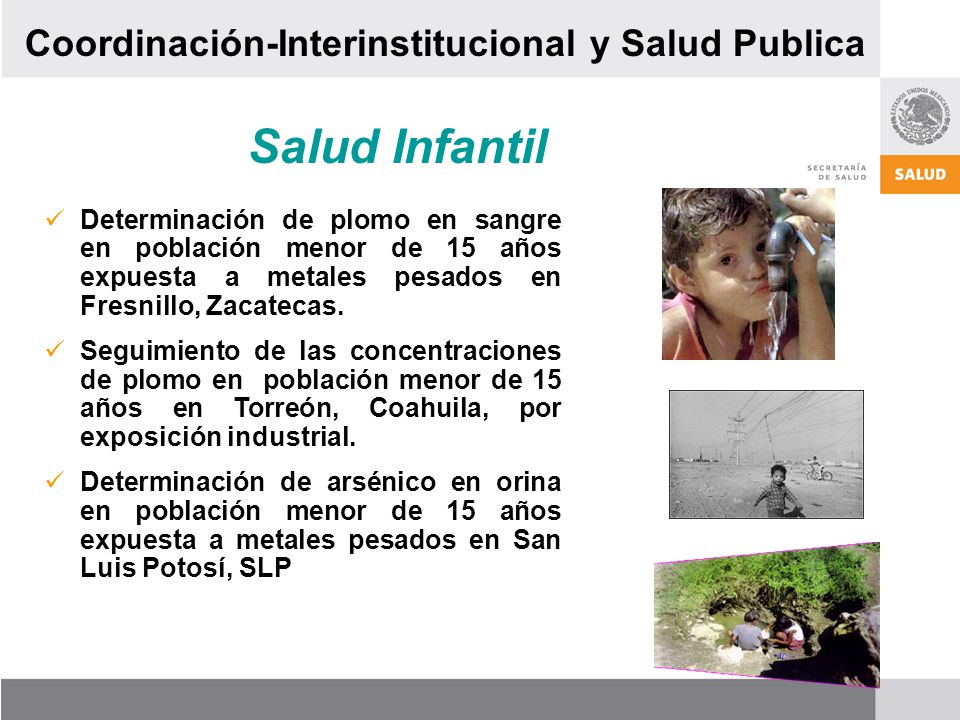 Salud Infantil Determinación de plomo en sangre en población menor de 15 años expuesta a metales pesados en Fresnillo, Zacatecas. Seguimiento de las c