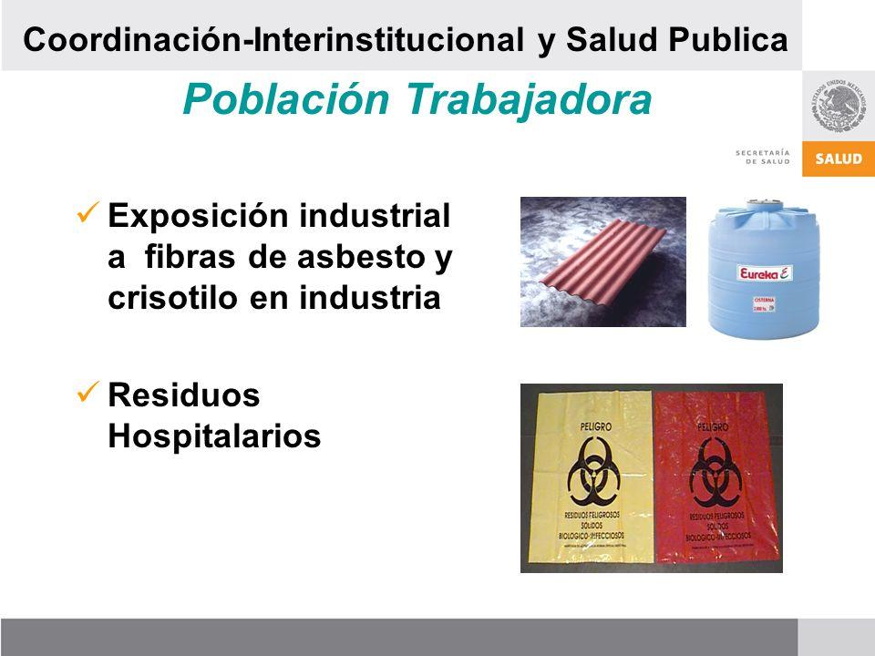 Población Trabajadora Exposición industrial a fibras de asbesto y crisotilo en industria Residuos Hospitalarios Coordinación-Interinstitucional y Salud Publica