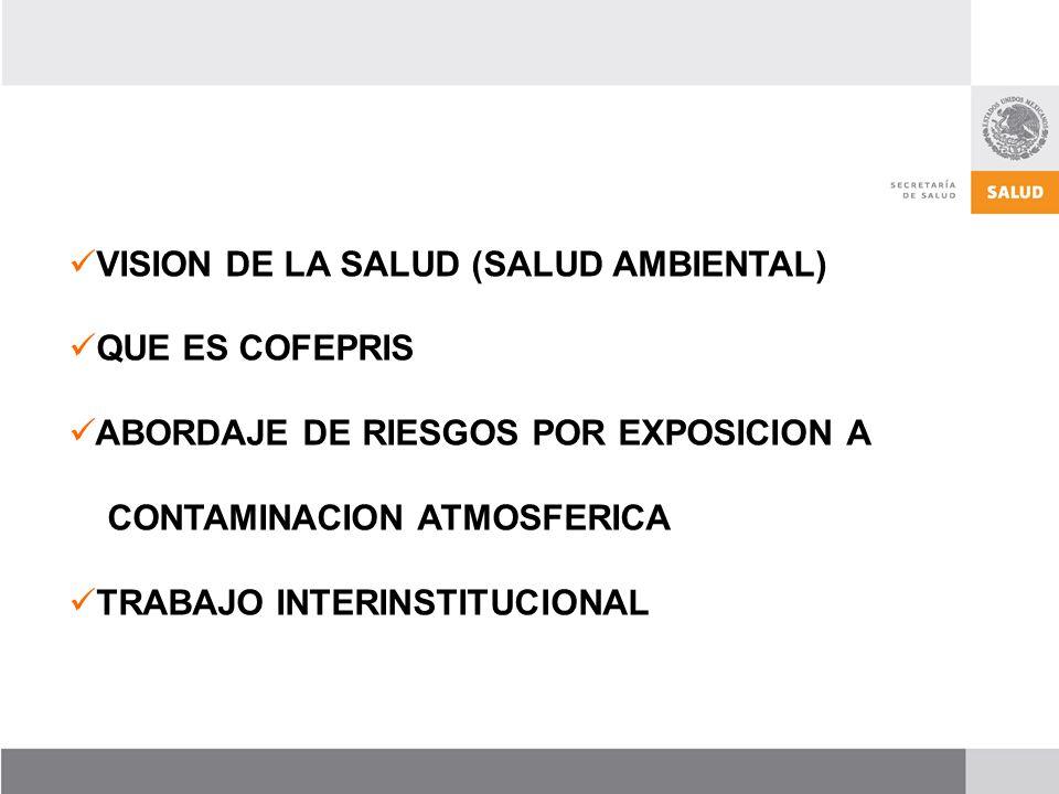 VISION DE LA SALUD (SALUD AMBIENTAL) QUE ES COFEPRIS ABORDAJE DE RIESGOS POR EXPOSICION A CONTAMINACION ATMOSFERICA TRABAJO INTERINSTITUCIONAL