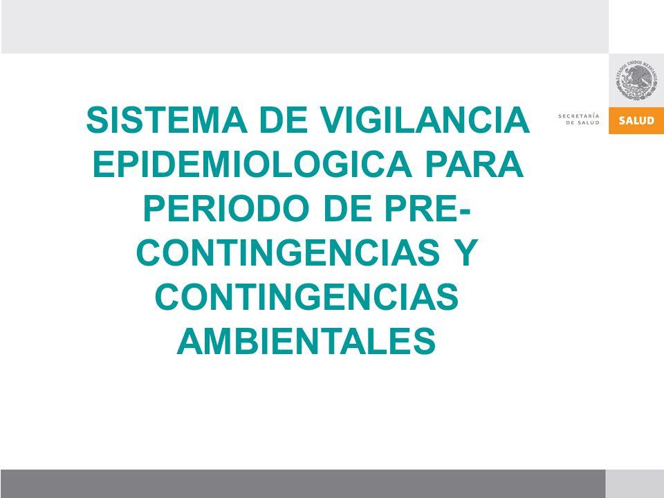 SISTEMA DE VIGILANCIA EPIDEMIOLOGICA PARA PERIODO DE PRE- CONTINGENCIAS Y CONTINGENCIAS AMBIENTALES
