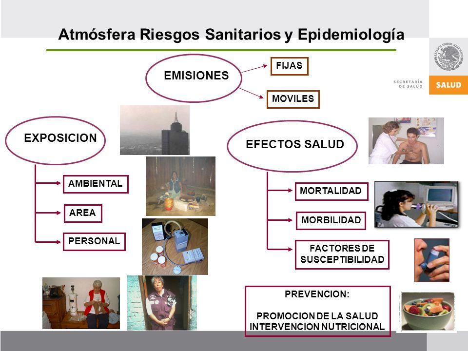 EMISIONES FIJAS MOVILES EXPOSICION AMBIENTAL AREA PERSONAL EFECTOS SALUD MORTALIDAD MORBILIDAD FACTORES DE SUSCEPTIBILIDAD PREVENCION: PROMOCION DE LA SALUD INTERVENCION NUTRICIONAL Atmósfera Riesgos Sanitarios y Epidemiología