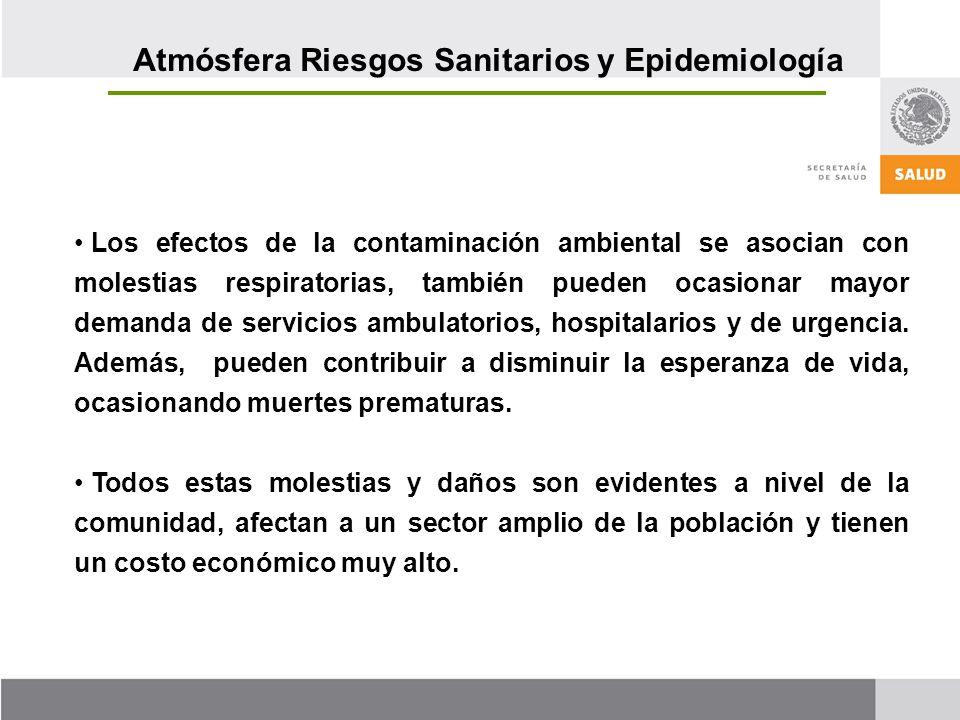 Los efectos de la contaminación ambiental se asocian con molestias respiratorias, también pueden ocasionar mayor demanda de servicios ambulatorios, hospitalarios y de urgencia.