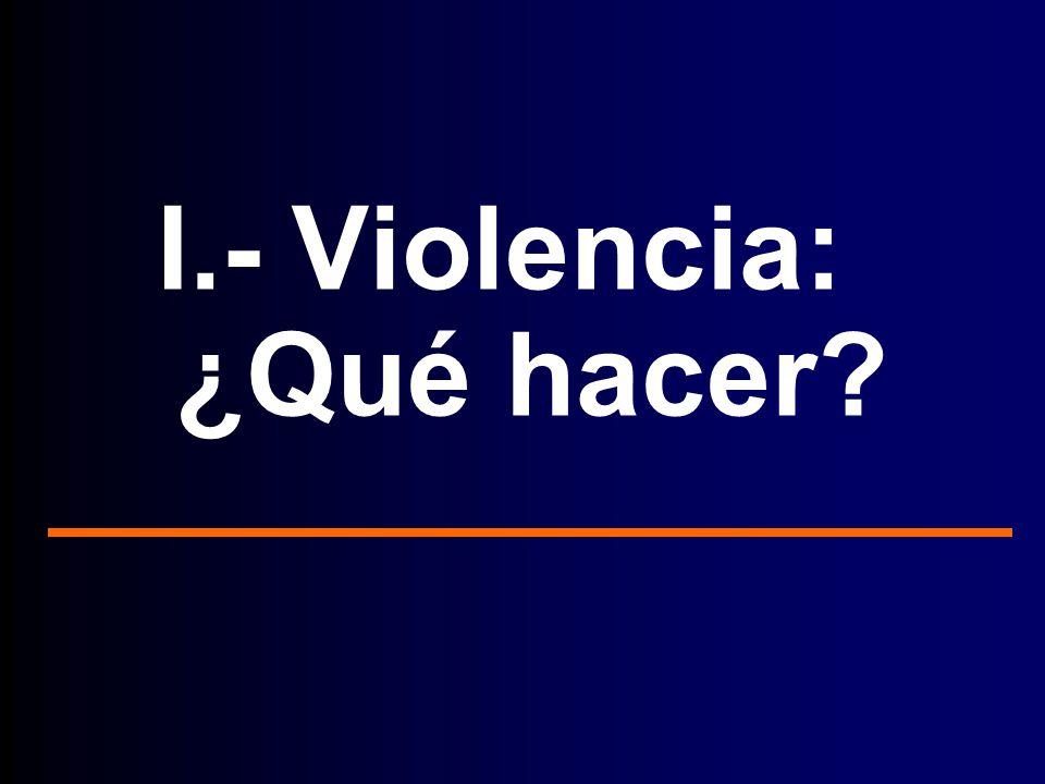 I.- Violencia: ¿Qué hacer?