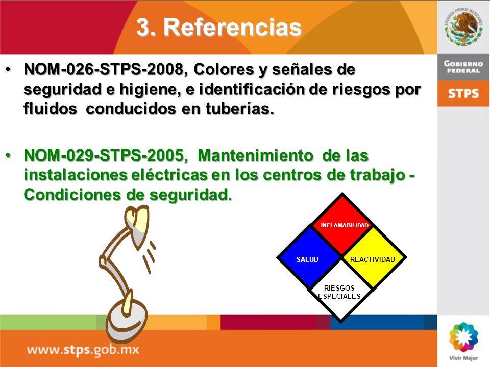 3. Referencias NOM-017-STPS-2008, Equipo de protección personal - Selección, uso y manejo en los centros de trabajo.NOM-017-STPS-2008, Equipo de prote