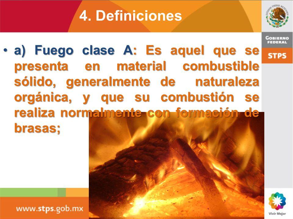 4. Definiciones 4.11 Fuego: Es la oxidación rápida de los materiales combustibles con Desprendimiento de luz y calor. Este fenómeno consiste en una re