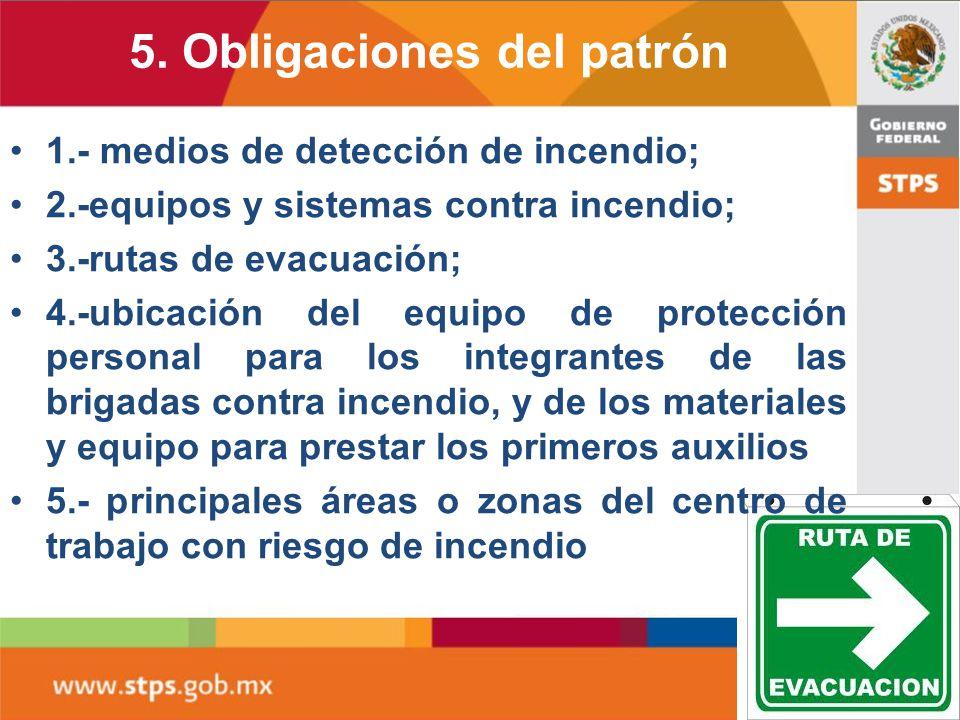 5. Obligaciones del patrón 5.2 Contar en todo centro de trabajo con un croquis, plano o mapa general del centro de trabajo, o por áreas que lo integra