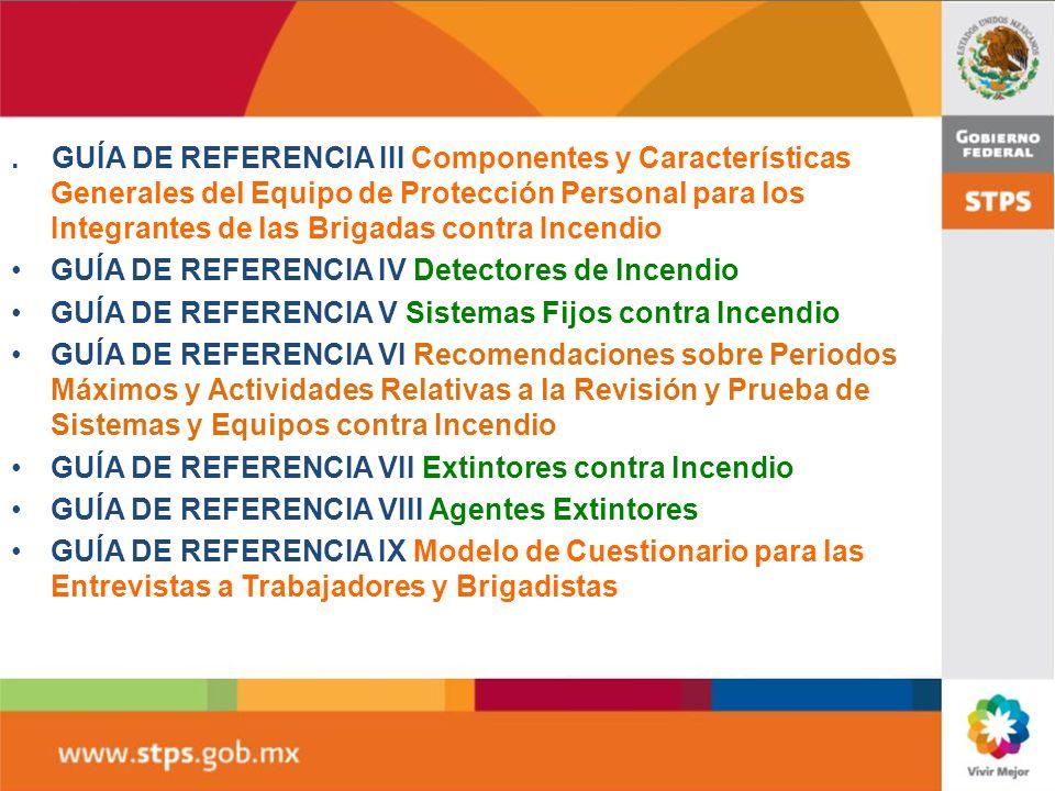 GUIA DE REFERENCIA I Detectores contra incendio GUÍA DE REFERENCIA II Sistemas fijos contra incendio GUIA DE REFERENCIA III Brigadas de emergencia GUI