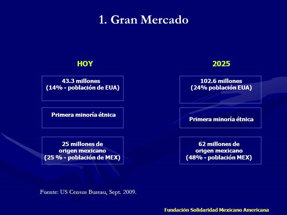 Fundación Solidaridad Mexicano Americana HOY 2025 43.3 millones (14% - población de EUA) Primera minoría étnica 25 millones de origen mexicano (25 % -