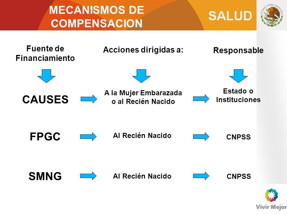 MECANISMOS DE COMPENSACION CAUSES FPGC SMNG Fuente de Financiamiento Acciones dirigidas a: A la Mujer Embarazada o al Recién Nacido Al Recién Nacido R