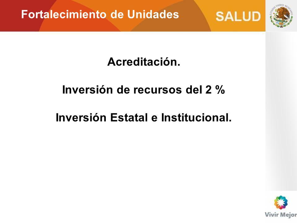 Fortalecimiento de Unidades Acreditación. Inversión de recursos del 2 % Inversión Estatal e Institucional.