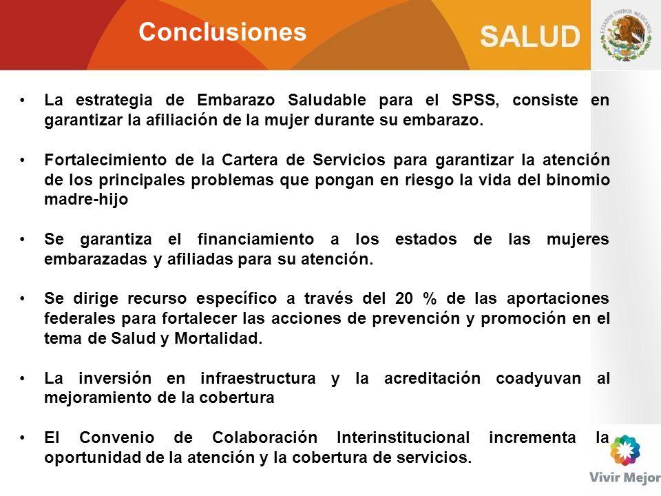 Conclusiones La estrategia de Embarazo Saludable para el SPSS, consiste en garantizar la afiliación de la mujer durante su embarazo. Fortalecimiento d