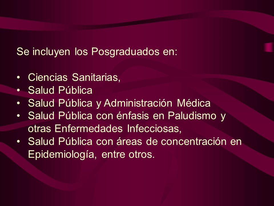 Se incluyen los Posgraduados en: Ciencias Sanitarias, Salud Pública Salud Pública y Administración Médica Salud Pública con énfasis en Paludismo y otr