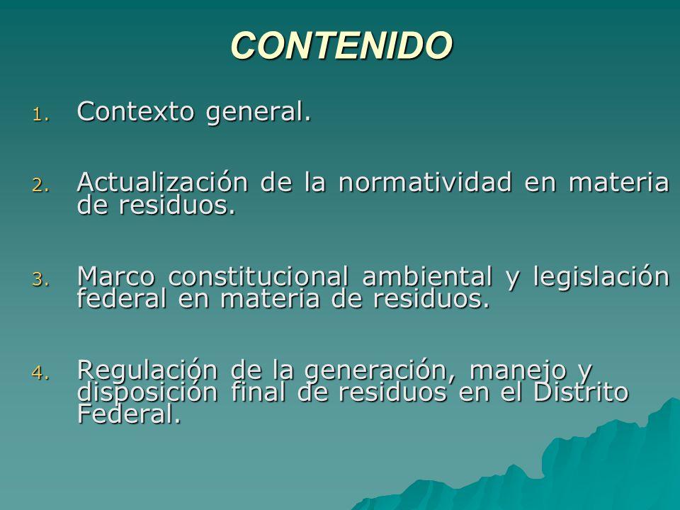 CONTENIDO 1.Contexto general. 2. Actualización de la normatividad en materia de residuos.