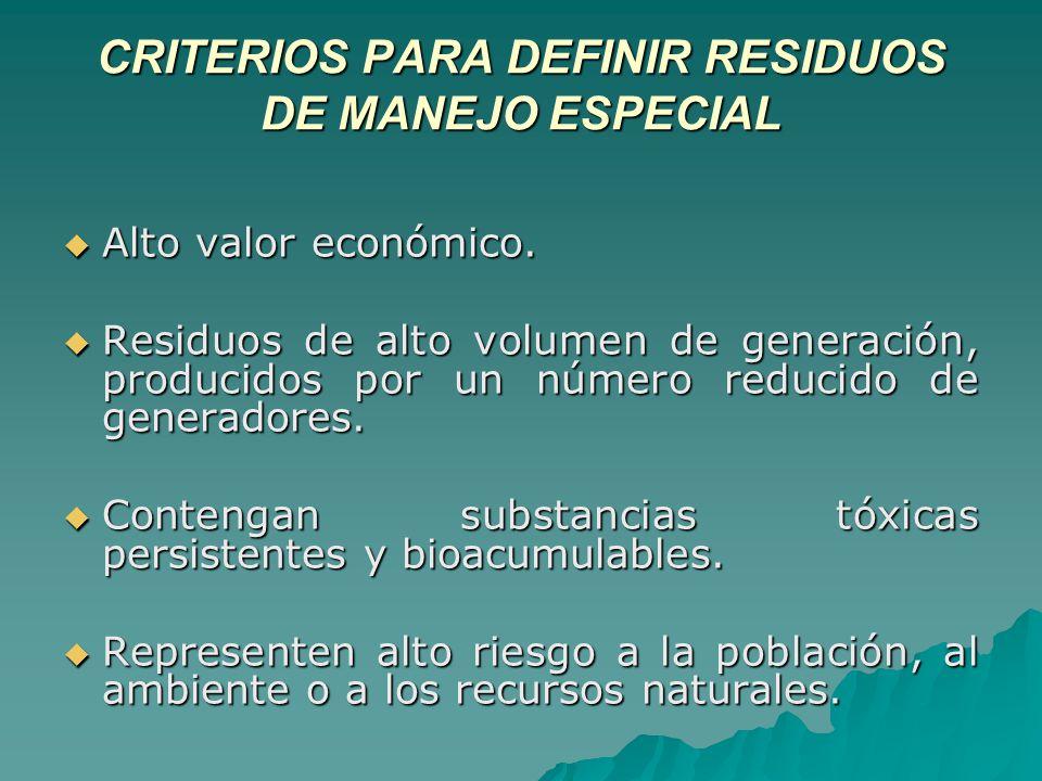 CRITERIOS PARA DEFINIR RESIDUOS DE MANEJO ESPECIAL Alto valor económico.