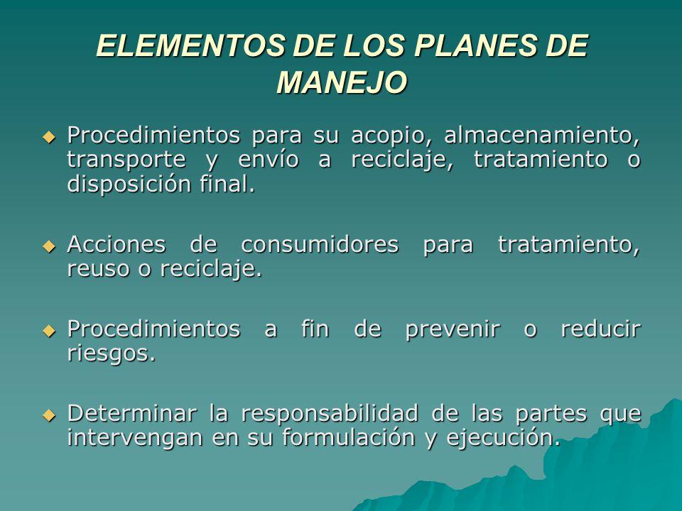 ELEMENTOS DE LOS PLANES DE MANEJO Procedimientos para su acopio, almacenamiento, transporte y envío a reciclaje, tratamiento o disposición final.