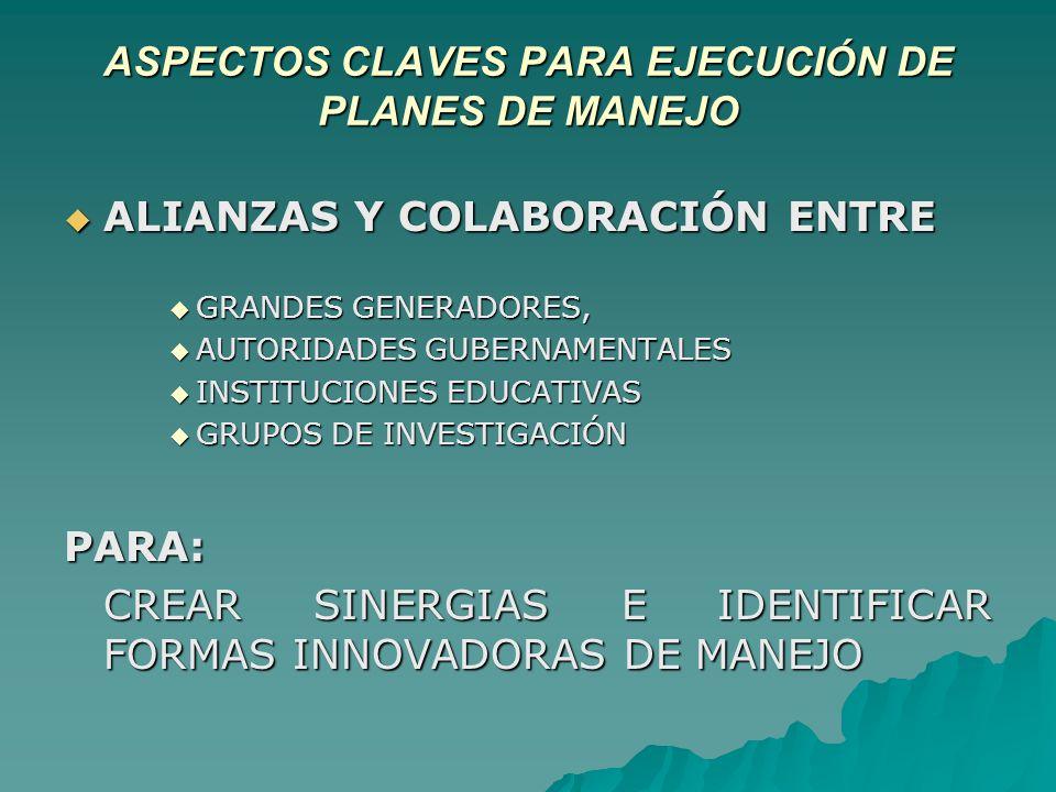 ASPECTOS CLAVES PARA EJECUCIÓN DE PLANES DE MANEJO ALIANZAS Y COLABORACIÓN ENTRE ALIANZAS Y COLABORACIÓN ENTRE GRANDES GENERADORES, GRANDES GENERADORES, AUTORIDADES GUBERNAMENTALES AUTORIDADES GUBERNAMENTALES INSTITUCIONES EDUCATIVAS INSTITUCIONES EDUCATIVAS GRUPOS DE INVESTIGACIÓN GRUPOS DE INVESTIGACIÓNPARA: CREAR SINERGIAS E IDENTIFICAR FORMAS INNOVADORAS DE MANEJO
