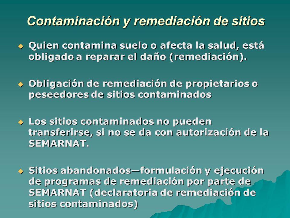 Contaminación y remediación de sitios Quien contamina suelo o afecta la salud, está obligado a reparar el daño (remediación).
