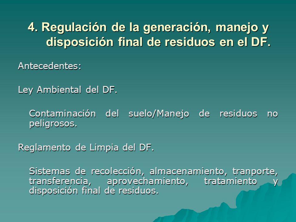 4.Regulación de la generación, manejo y disposición final de residuos en el DF.