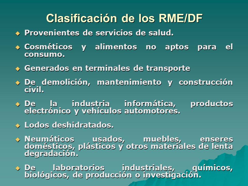 Clasificación de los RME/DF Provenientes de servicios de salud.