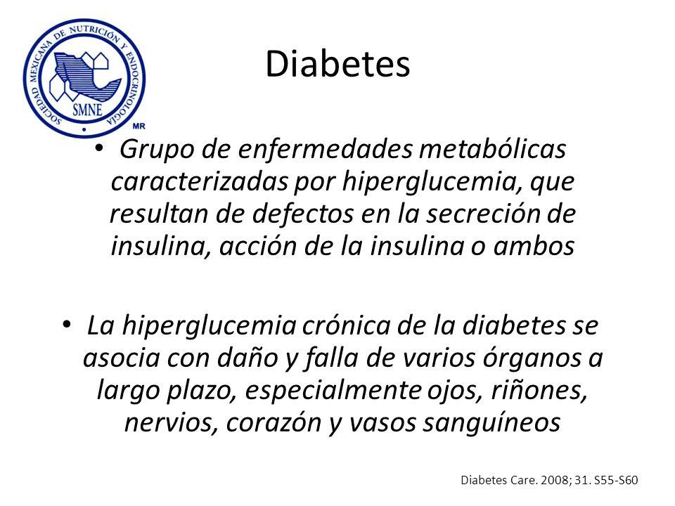 Diabetes Grupo de enfermedades metabólicas caracterizadas por hiperglucemia, que resultan de defectos en la secreción de insulina, acción de la insuli