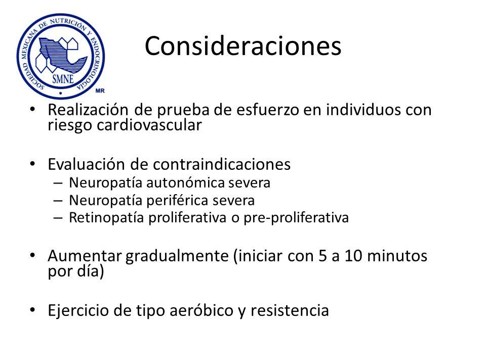 Consideraciones Realización de prueba de esfuerzo en individuos con riesgo cardiovascular Evaluación de contraindicaciones – Neuropatía autonómica sev