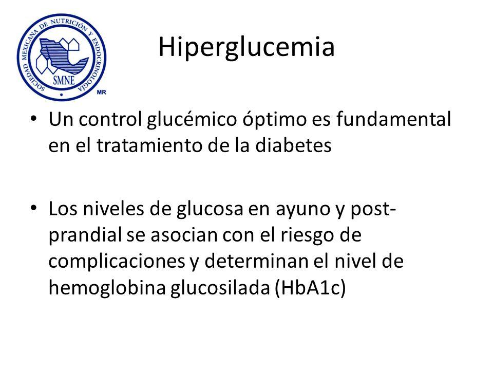 Hiperglucemia Un control glucémico óptimo es fundamental en el tratamiento de la diabetes Los niveles de glucosa en ayuno y post- prandial se asocian