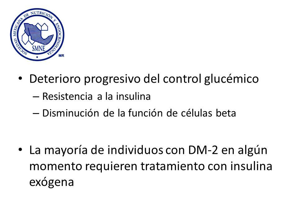 Deterioro progresivo del control glucémico – Resistencia a la insulina – Disminución de la función de células beta La mayoría de individuos con DM-2 e