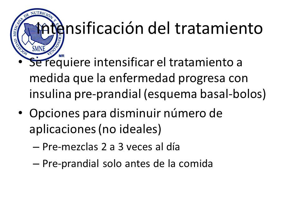 Intensificación del tratamiento Se requiere intensificar el tratamiento a medida que la enfermedad progresa con insulina pre-prandial (esquema basal-b
