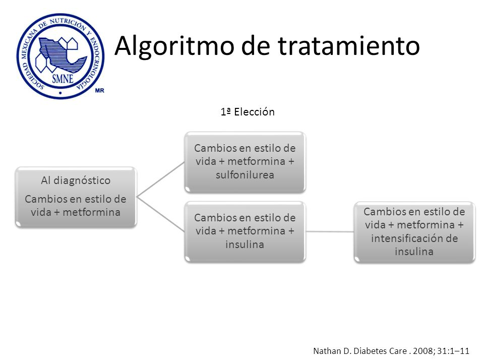 Algoritmo de tratamiento Al diagnóstico Cambios en estilo de vida + metformina Cambios en estilo de vida + metformina + sulfonilurea Cambios en estilo
