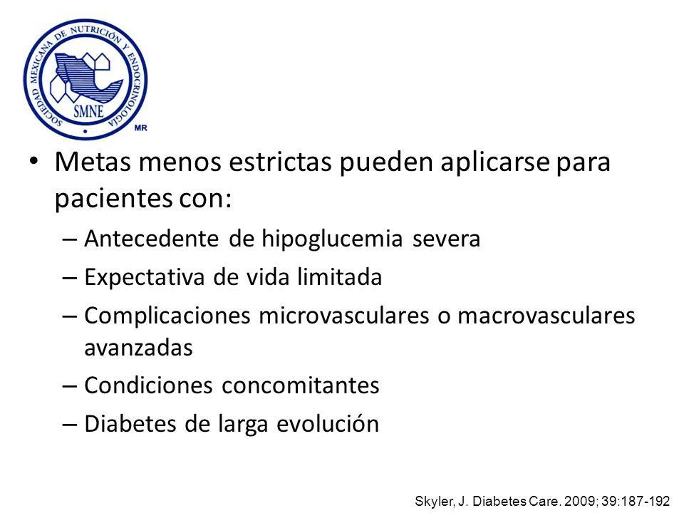 Metas menos estrictas pueden aplicarse para pacientes con: – Antecedente de hipoglucemia severa – Expectativa de vida limitada – Complicaciones microv
