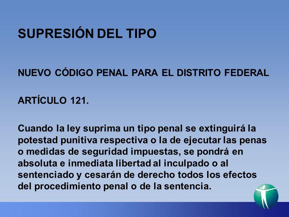 SUPRESIÓN DEL TIPO NUEVO CÓDIGO PENAL PARA EL DISTRITO FEDERAL ARTÍCULO 121. Cuando la ley suprima un tipo penal se extinguirá la potestad punitiva re