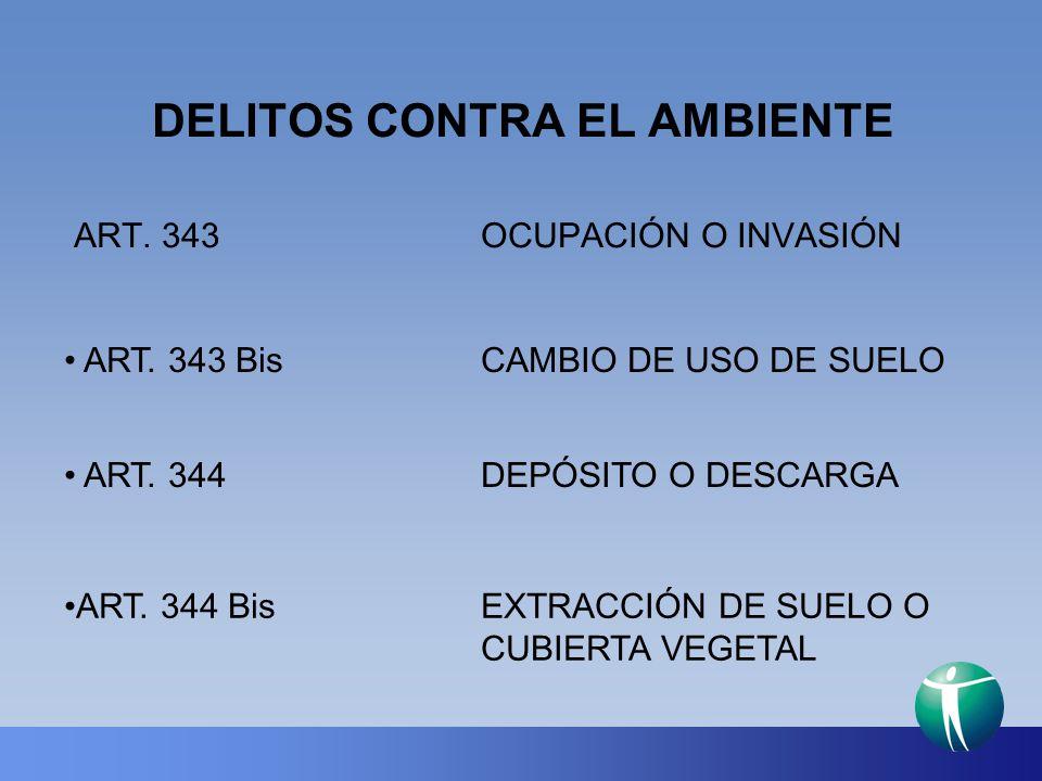 DELITOS CONTRA EL AMBIENTE ART. 343OCUPACIÓN O INVASIÓN ART. 343 BisCAMBIO DE USO DE SUELO ART. 344DEPÓSITO O DESCARGA ART. 344 BisEXTRACCIÓN DE SUELO
