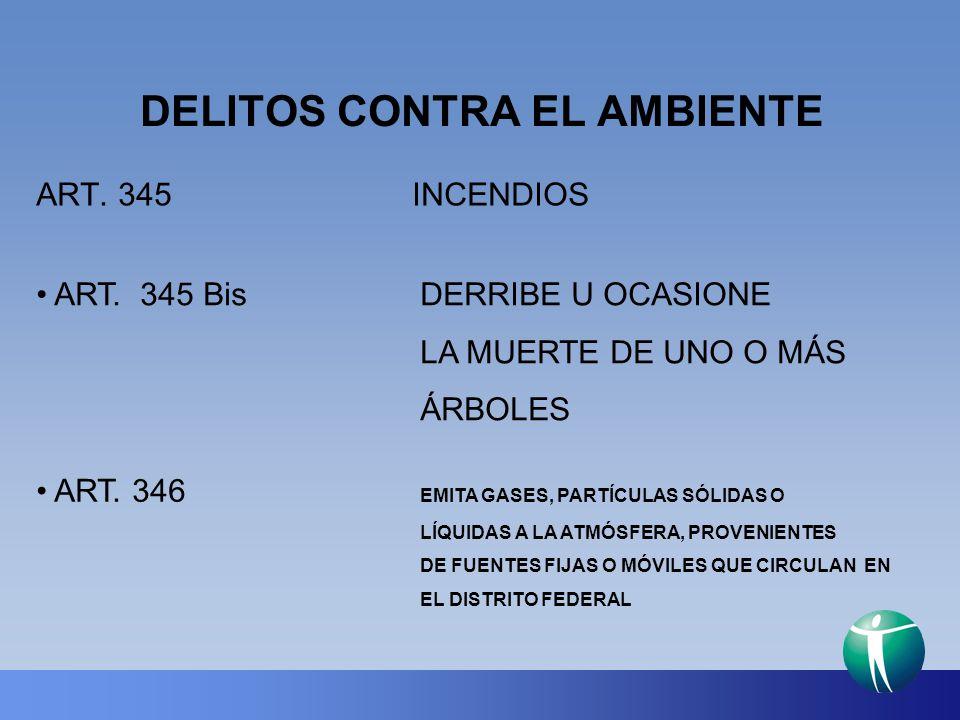 DELITOS CONTRA EL AMBIENTE ART. 345 INCENDIOS ART. 345 BisDERRIBE U OCASIONE LA MUERTE DE UNO O MÁS ÁRBOLES ART. 346 EMITA GASES, PARTÍCULAS SÓLIDAS O