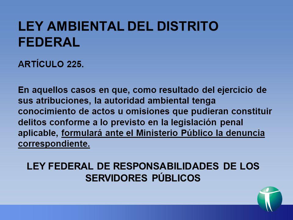 LEY AMBIENTAL DEL DISTRITO FEDERAL ARTÍCULO 225. En aquellos casos en que, como resultado del ejercicio de sus atribuciones, la autoridad ambiental te