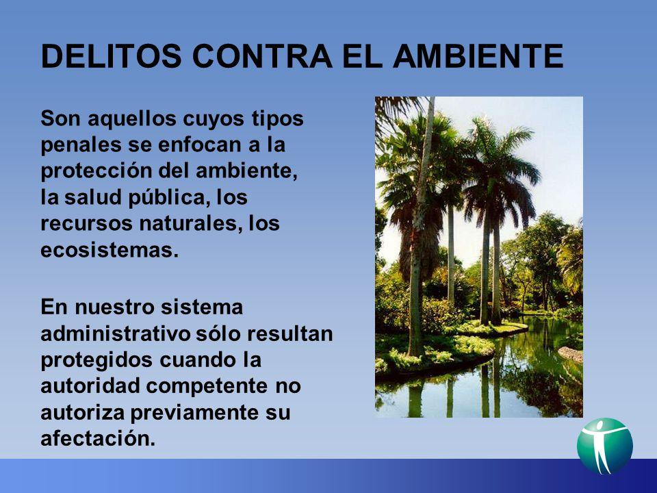 DELITOS CONTRA EL AMBIENTE Son aquellos cuyos tipos penales se enfocan a la protección del ambiente, la salud pública, los recursos naturales, los eco