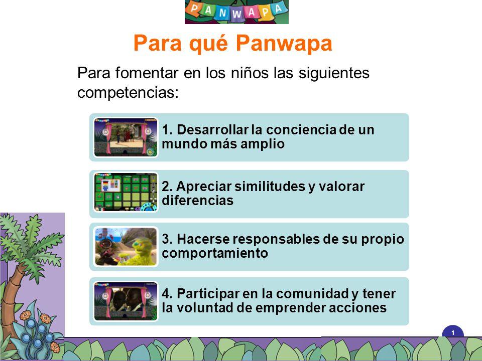 1010 Para qué Panwapa Para fomentar en los niños las siguientes competencias: 1. Desarrollar la conciencia de un mundo más amplio 2. Apreciar similitu