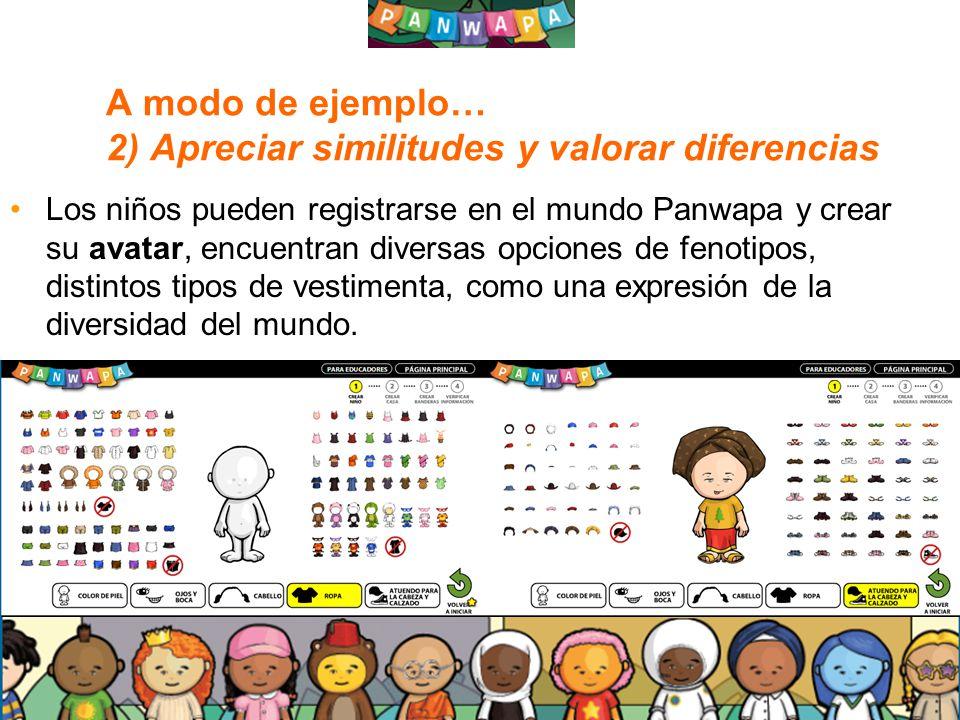 1212 A modo de ejemplo… 2) Apreciar similitudes y valorar diferencias Los niños pueden registrarse en el mundo Panwapa y crear su avatar, encuentran d