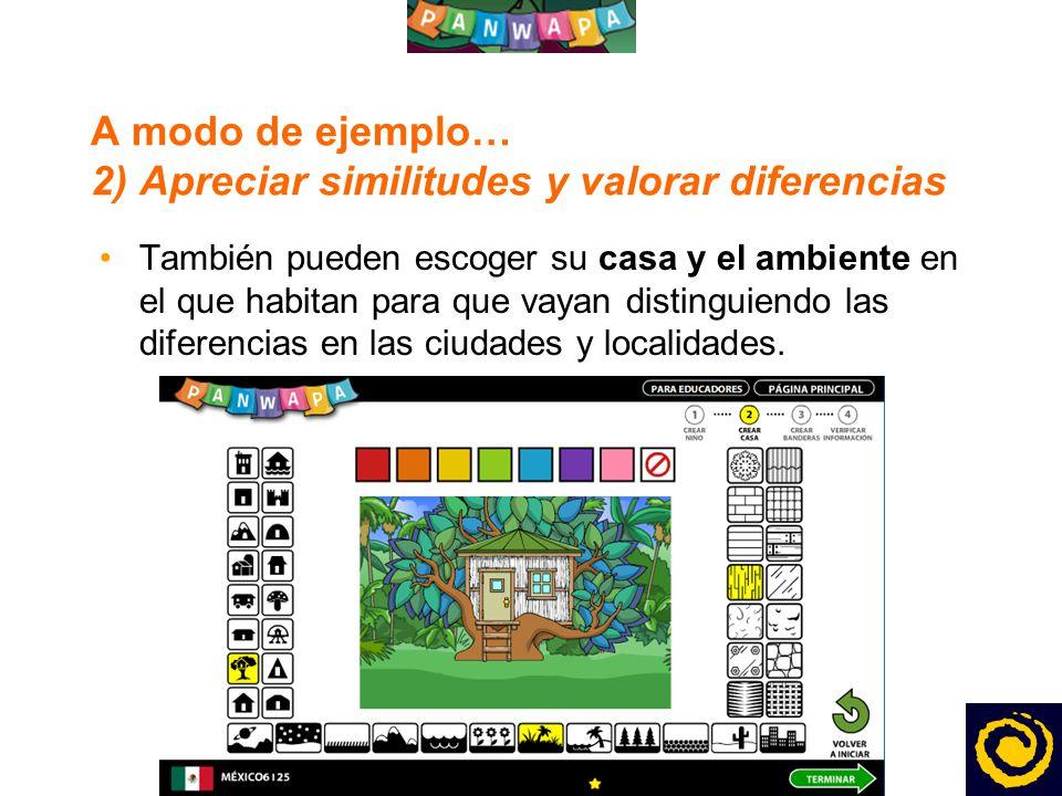 1313 A modo de ejemplo… 2) Apreciar similitudes y valorar diferencias También pueden escoger su casa y el ambiente en el que habitan para que vayan distinguiendo las diferencias en las ciudades y localidades.
