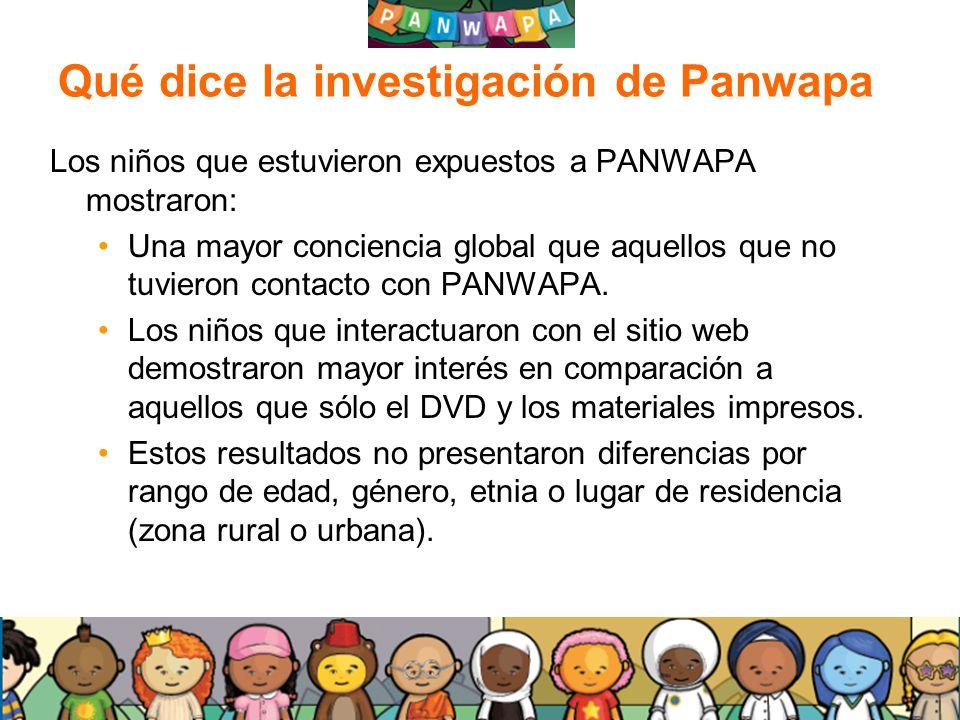 2020 Qué dice la investigación de Panwapa Los niños que estuvieron expuestos a PANWAPA mostraron: Una mayor conciencia global que aquellos que no tuvi