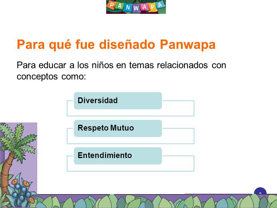 9 Para qué fue diseñado Panwapa Para educar a los niños en temas relacionados con conceptos como: DiversidadRespeto MutuoEntendimiento