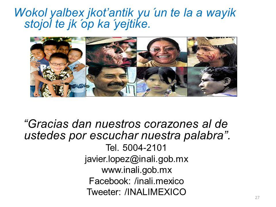 Wokol yalbex jkotantik yu´un te la a wayik stojol te jk´op ka´yejtike. Gracias dan nuestros corazones al de ustedes por escuchar nuestra palabra. Tel.