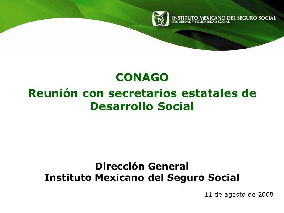 Dirección General Instituto Mexicano del Seguro Social 11 de agosto de 2008 CONAGO Reunión con secretarios estatales de Desarrollo Social