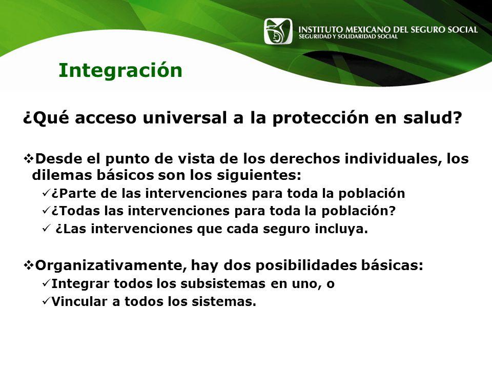 Integración ¿Qué acceso universal a la protección en salud? Desde el punto de vista de los derechos individuales, los dilemas básicos son los siguient