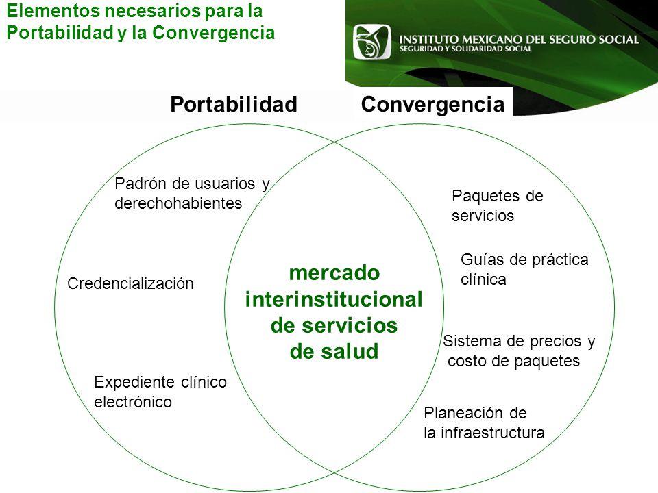 Expediente clínico electrónico Credencialización Padrón de usuarios y derechohabientes Guías de práctica clínica Paquetes de servicios mercado interin