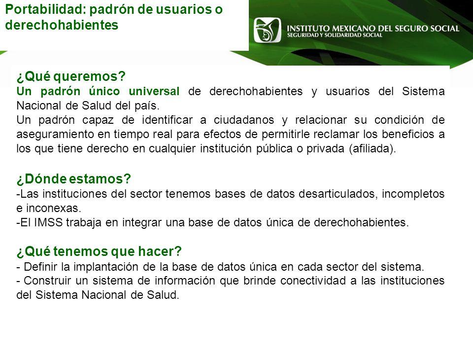 Portabilidad: padrón de usuarios o derechohabientes ¿Qué queremos? Un padrón único universal de derechohabientes y usuarios del Sistema Nacional de Sa